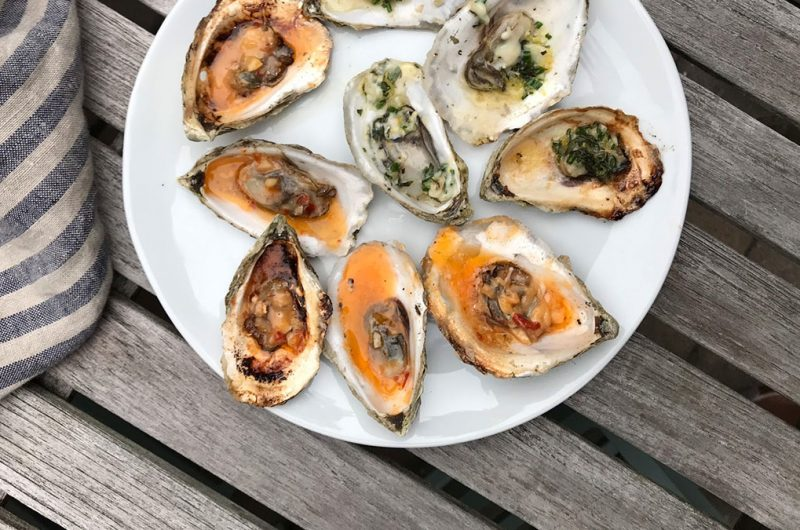 Grilled Oysters with Chili Butter and Lemon Basil Butter