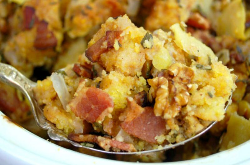 Cornbread Stuffing (with Apples, Bacon and Pecans)