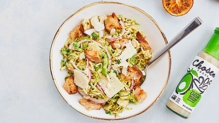 Caesar Marinated Brussel Sprouts Salad with Homemade Breadcrumbs