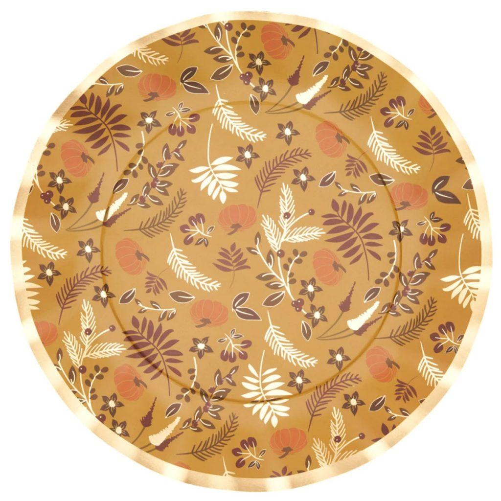 Gold Harvest Wavy Paper Dinner Plate