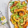 Lemon Garlic Acorn Squash with Cilantro Pesto