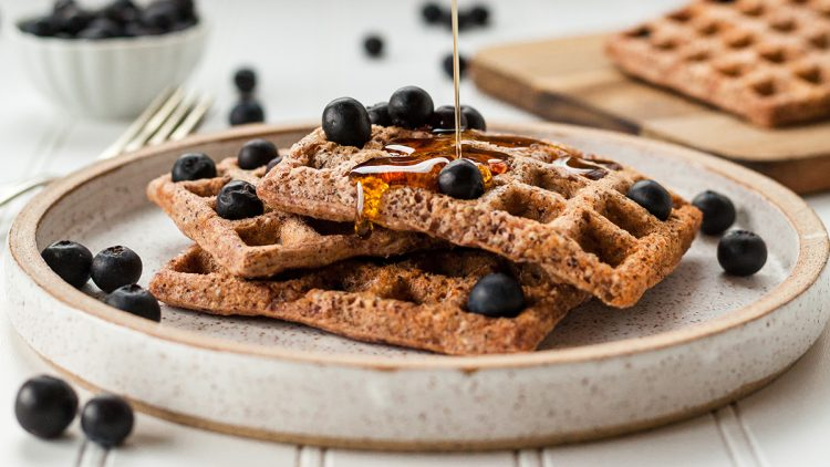 gluten-free waffles with syrup