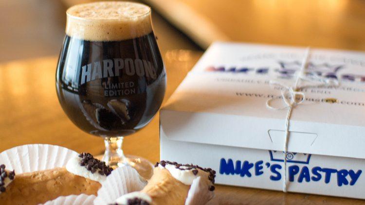 Harpoon beer with cannoli