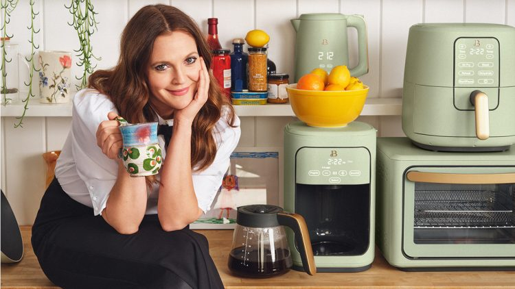 Drew Barrymore with her kitchenware
