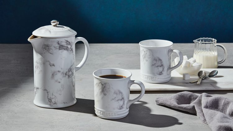 A marble Le Creuset French Press