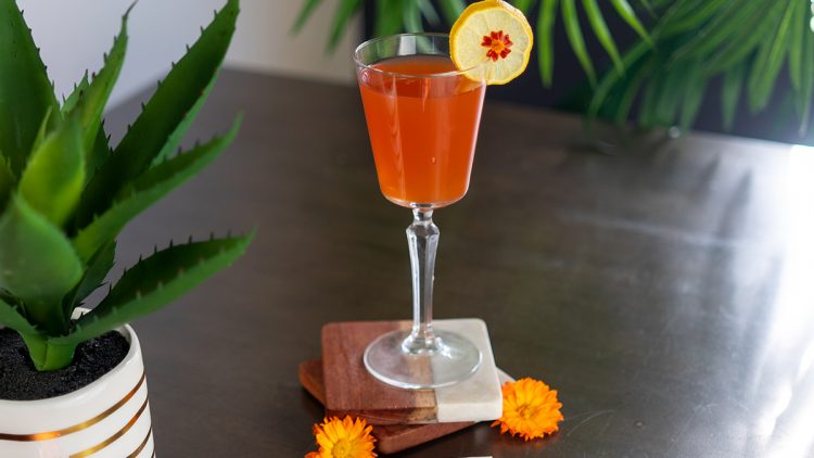 A cocktail on a table