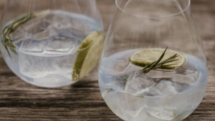 Riedel glassware with a gin and tonic