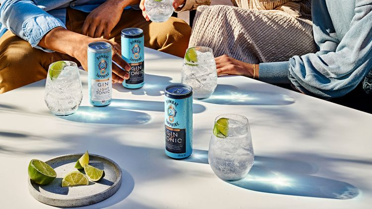 Canned gin and tonics on the table