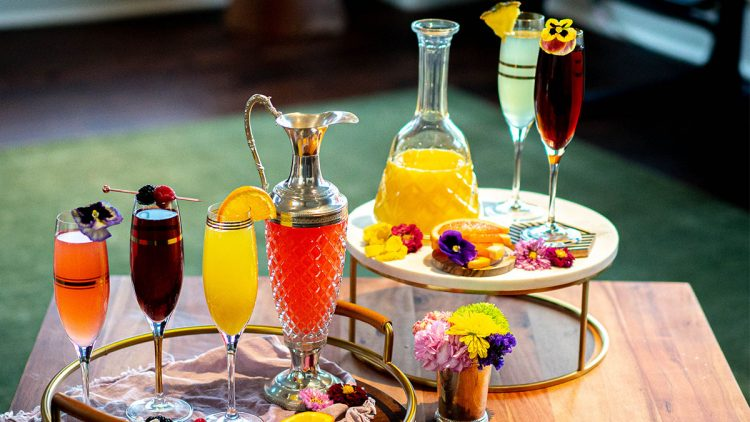 juices on the table for a mimosa bar